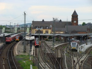 Der Bahnhof in Gießen aus Blickrichtung Süden.