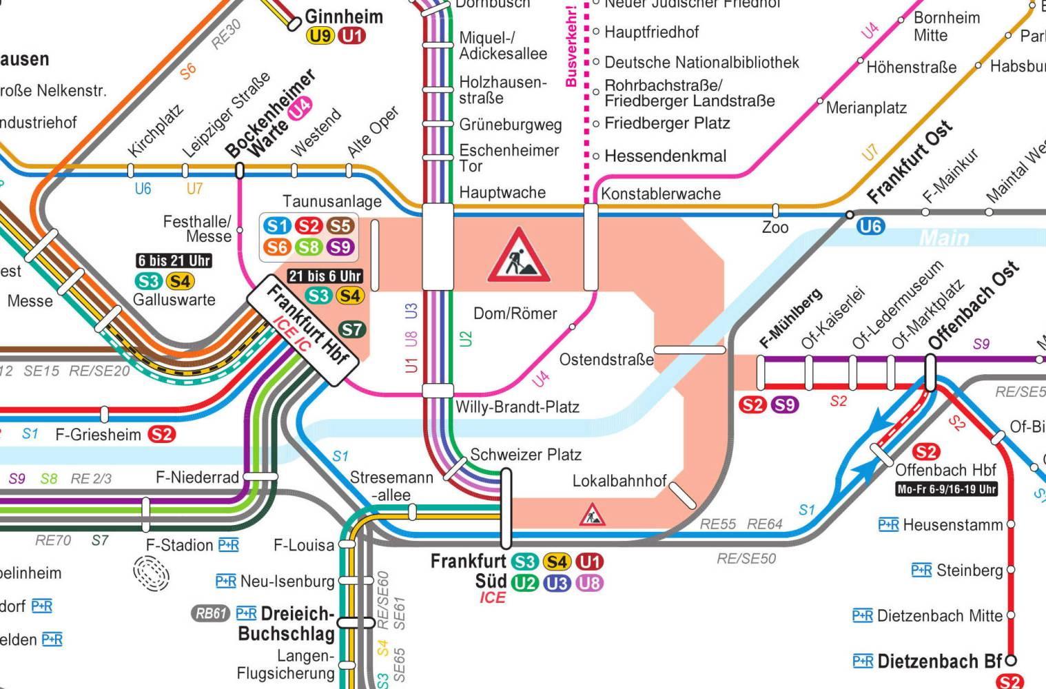 So sieht der Liniennetzplan für die S-Bahnen und U-Bahnen in und um Frankfurt am Main während der Tunnelsperrung in den Sommerferien 2016 aus. (Quelle: RMV)