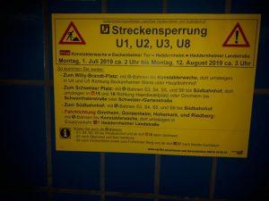 Hinweisschild in der B-Ebene der Hauptwache.