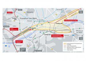 Das ist der Suchraum, in denen untersucht werden soll, wo ein Fernbahntunnel mit unterirdischem Fernbahnhof unter dem weiter bestehenden Hauptbahnhof entstehen kann. Quelle: Deutsche Bahn